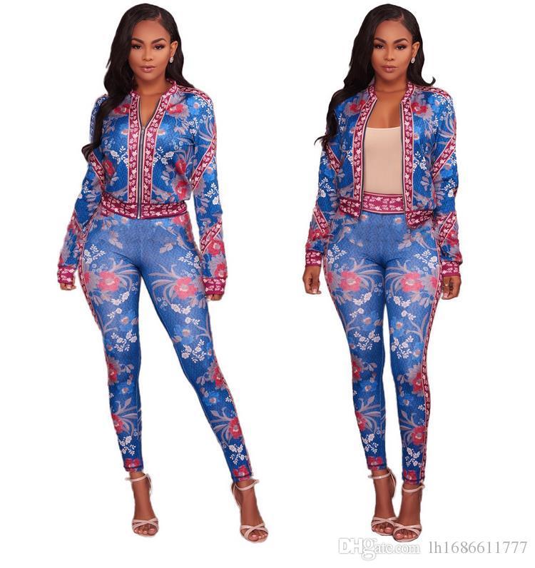 2019 осень-весна женщин Sexy цветочные печати Спортивный костюм Спортивные костюмы женщин два-Piece Set девушки куртки топы и брюки Multi-стиле S-3XL