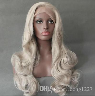 """100% Новый высокое качество мода картина полный кружева wigs24 """" кружева фронт парик термостойкие синтетические волосы тела волнистые отбеливатель блондинка Цвет"""