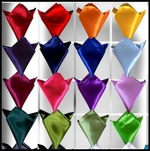 Mens Solid Hanky Silk Satin Pocket Square Hankerchief for Groommen Tie Wedding Party
