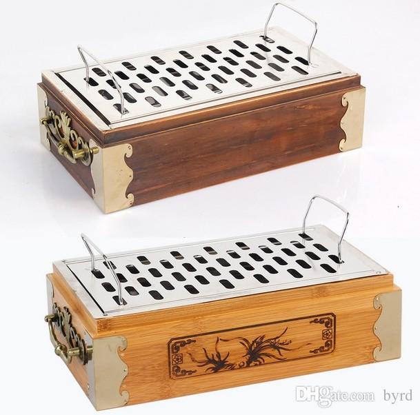 portable charcoal Grill mit Holz oder Bambus-Box für bar Haushaltsherd Außengrillgitter 036
