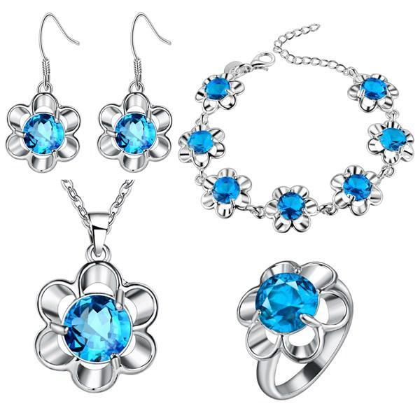 Grossi gioielli in argento di colore prugna fiore degli Stati Uniti e degli Stati Uniti e gioielli commercio estero intero