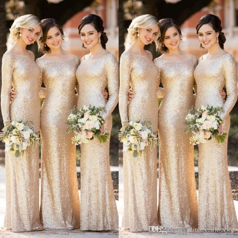 Sparkly Champagne Sequins Mermaid Long Sleeve Bridesmaid Dresses 2019 Scoop Floor Length Wedding Guest Maid of Honor Evening Prom Gowns