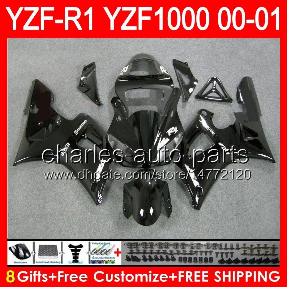 corps noir brillant 8gifts Corps Pour YAMAHA YZF R1 00 01 YZF1000 YZF-R1 00-01 91NO44 YZF 1000 YZF-1000 YZF R 1 YZFR1 2000 2001 noir brillant Carénage