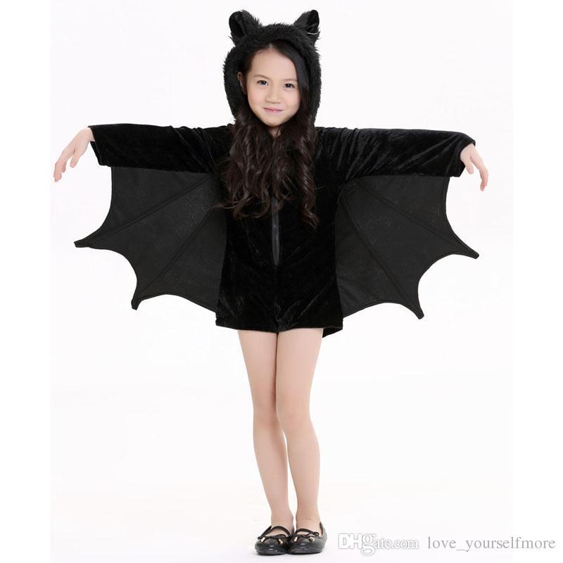 Nowy Dziecko Zwierząt Cosplay Cute Bat Kostium Dzieci Kostiumy Halloween Dla Dziewczyn Black Zipper Kombinezon Connect Wings Batman Ubrania