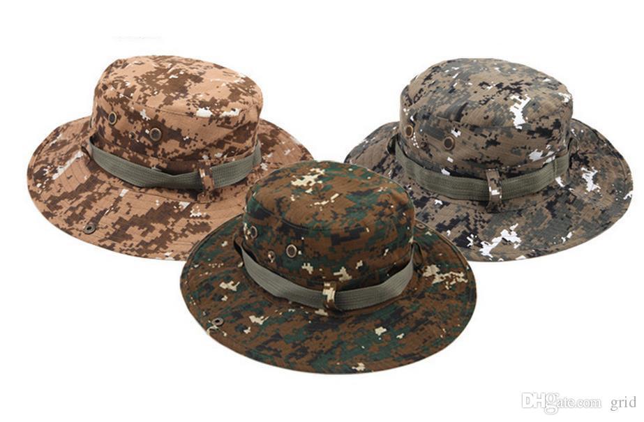 Izgara Toptan kamuflaj geniş kenarlı şapka açık balıkçı kova şapka Camo geniş ağız Güneş Balıkçılık kap kamp avcılık CS Taktik Dişli