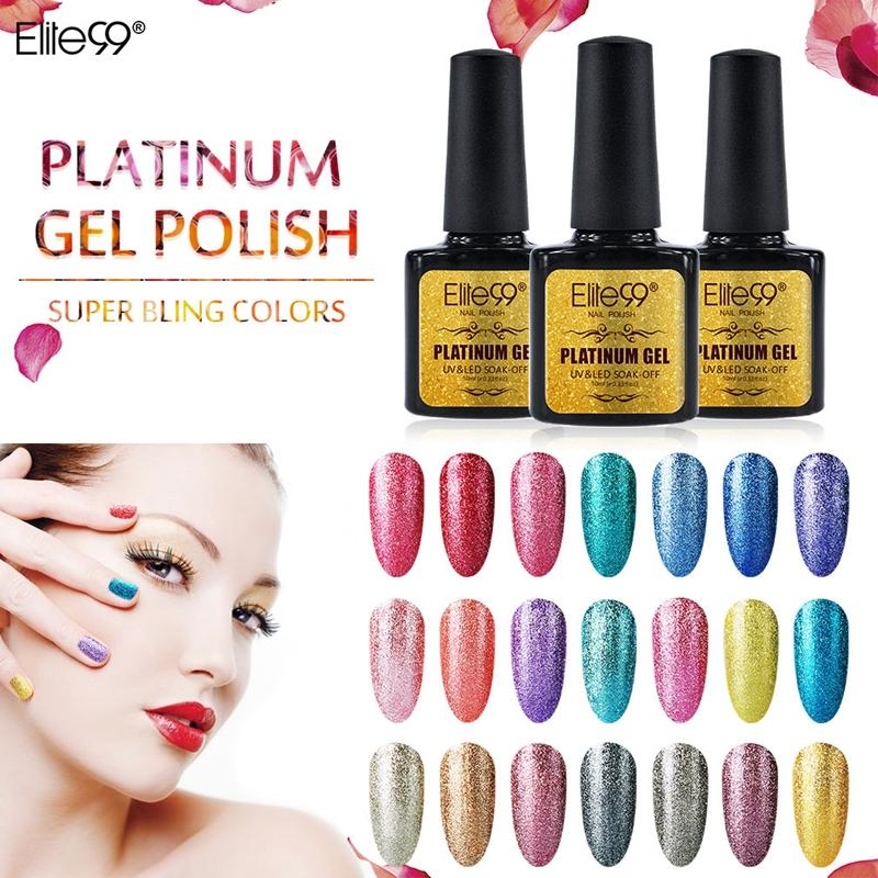 Wholesale-Elite99 Shimmer Platinum Gel Varnish UV LED Soak Off Polish Nail Art Full Set UV Gel Kit Manicure UV Nail Polish 10ml