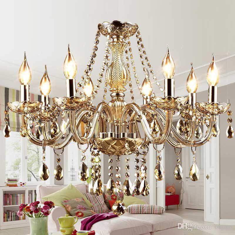 10 luci cristallo europeo soggiorno lampadario di lusso nobile salone ristorante sala da pranzo lampadario camera da letto sala studio lampade a sospensione