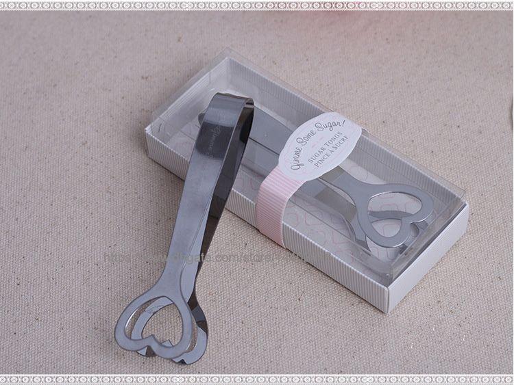 200 stücke Geschenk Hochzeit Favor Cut Edelstahl Zucker Zucker Clip Zangen Herzförmigen Herzform Silber kostenloser versand