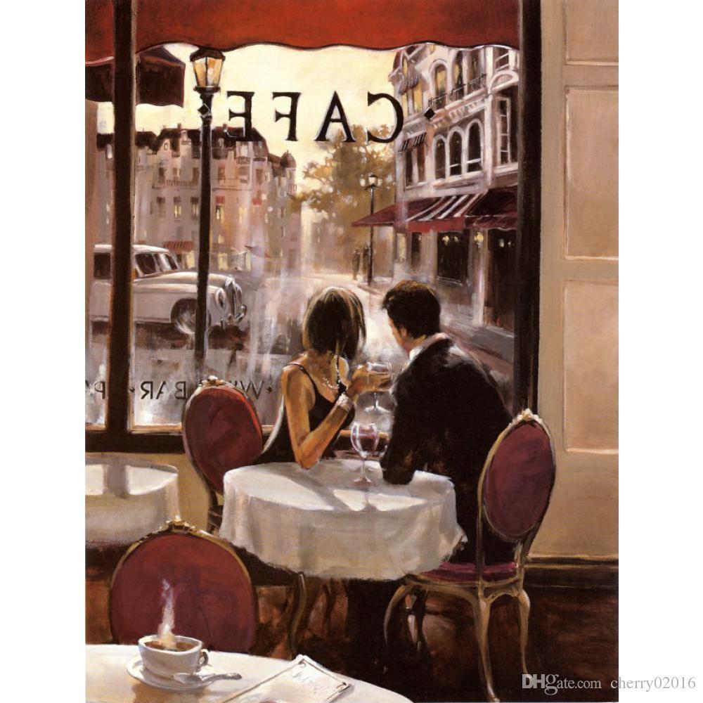 Arte francés Paisajes Pinturas al óleo modernas After hours cafeterías Brent Heighton Pintura lienzo reproducción pintado a mano decoración de la pared