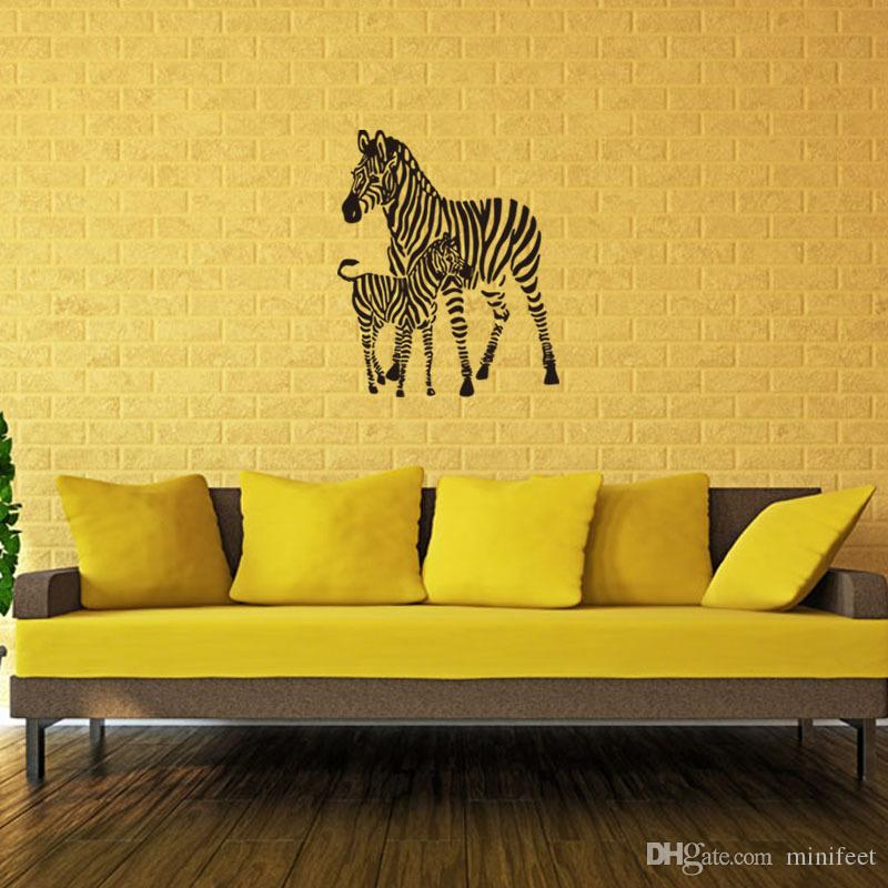 Lovely Zebra Stickers Living Room Bedroom Background Decorative Wall ...