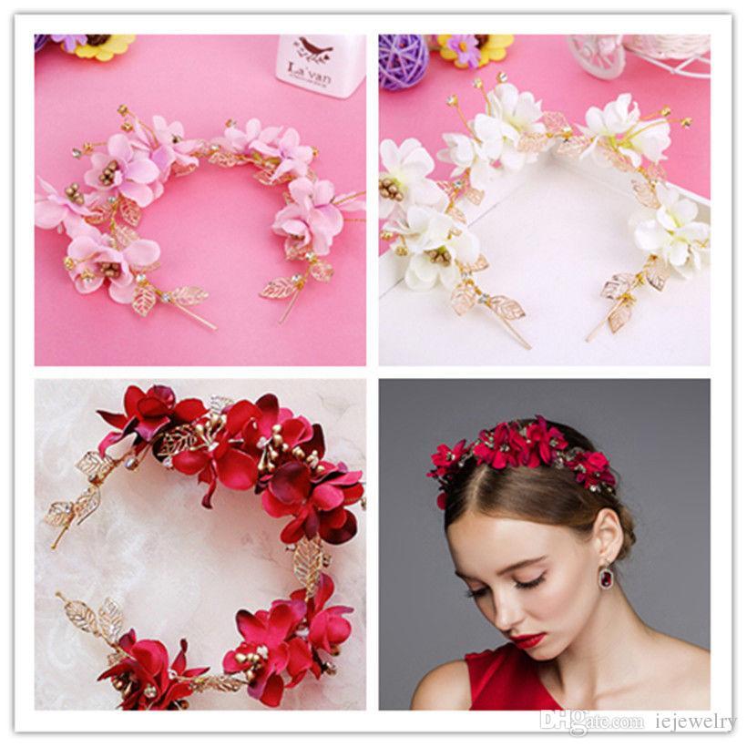 Hochzeit Braut Rose Blume Stirnband Blumenkrone Tiara Haarband Rosa Lila Rot Elfenbein Blumen Kopf Bänder Haarschmuck Ornament Prom Kopfschmuck Kopfschmuck Kopfschmuck