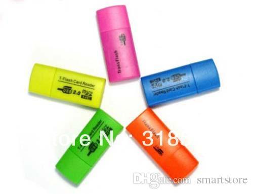 200pcs / lot Mini lettore di schede USB 2.0 Professional Micro TF T-Flash Card Reader Writer Spedizione gratuita