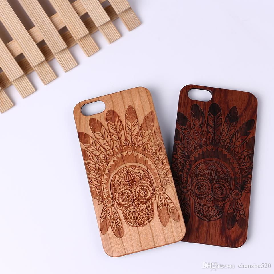 For iPhone 5S 6 6S 6Plus 7 7Plus SAMSUNG Galaxy S6 S7 Edge Transformers Superman Spider Iron Man Laser Engraved Real Wood Case