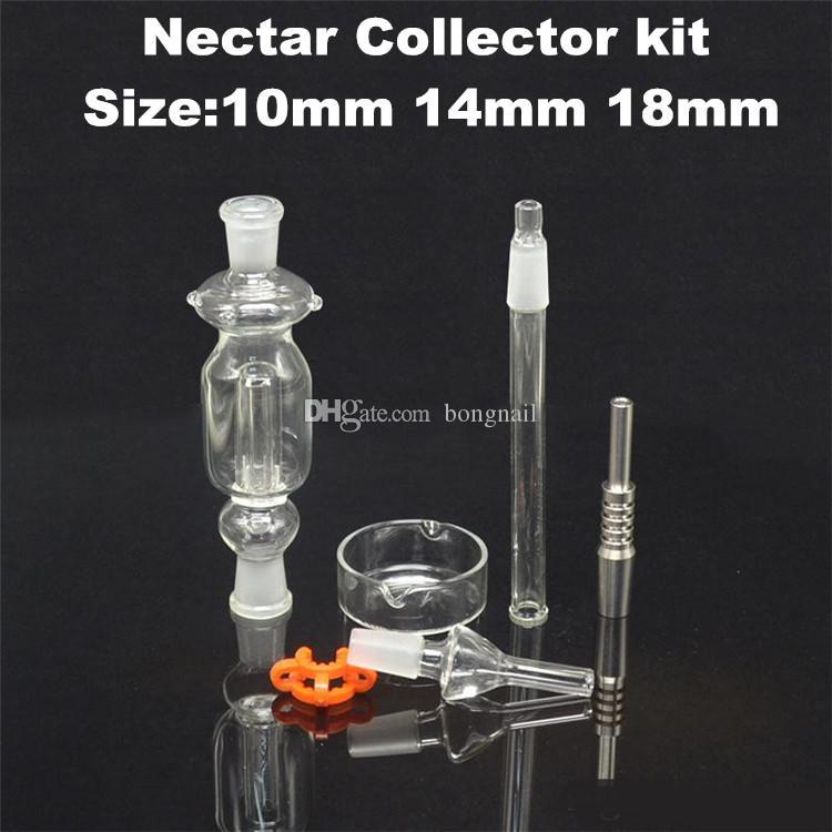 Miglior 10/14 / 18mm Nettare Collector con Titanium Nail Grade 2 Titanium Mini Glass Tubo Puntao per tubi in vetro Miele Paglia Concentrato Miele DAB Paglia