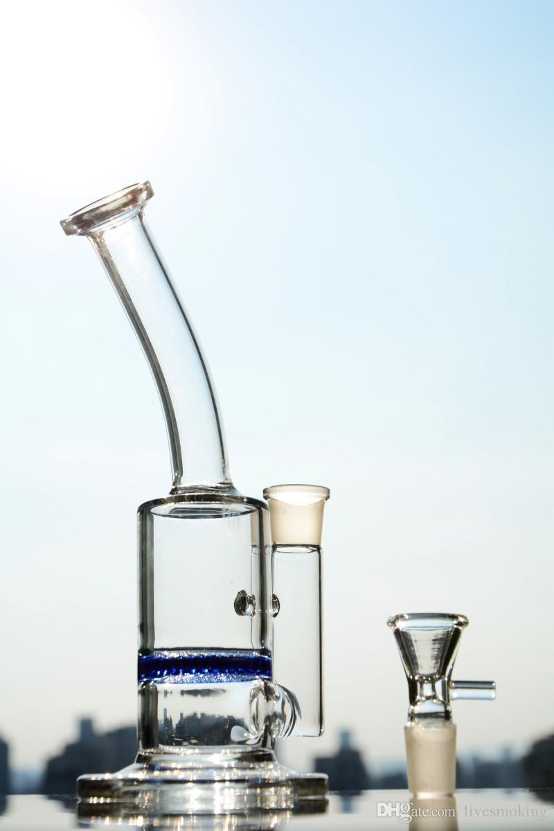 Blau Fliter Percolator Glas Wasserpfeifen Bent Neck Dab Rig Kleine Recycler Hookahs Kostenloser Versand
