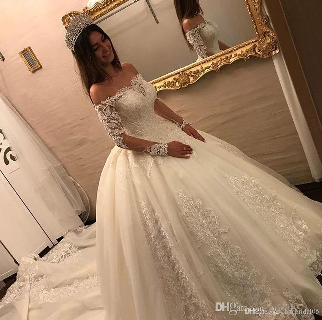 Großhandel Romantische Schulterfrei Ballkleid Brautkleider Lange Ärmel 14  Spitze Appliques Brautkleider Gericht Zug Vestido De Noiva Von