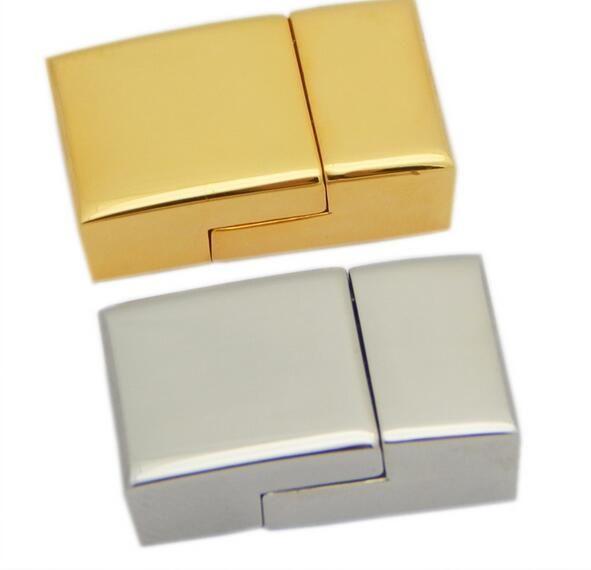 Fermoir magnétique en acier inoxydable, rectangle, plus de couleurs à choisir, Trou: Environ 12 * 3.5mm, Vendu par lot