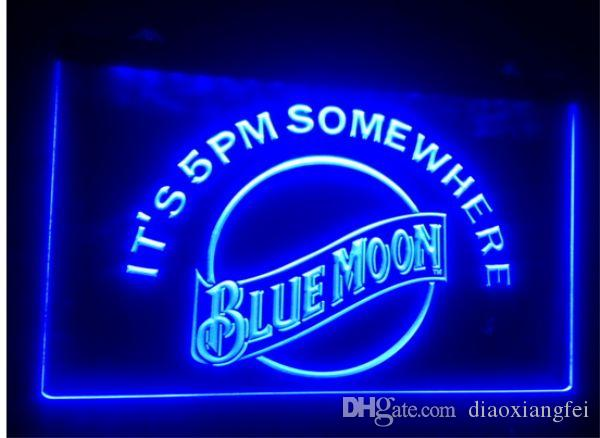 B-102 الأزرق القمر البيرة بار حانة نادي 3d علامات أدى ضوء النيون تسجيل ديكور المنزل متجر الحرف
