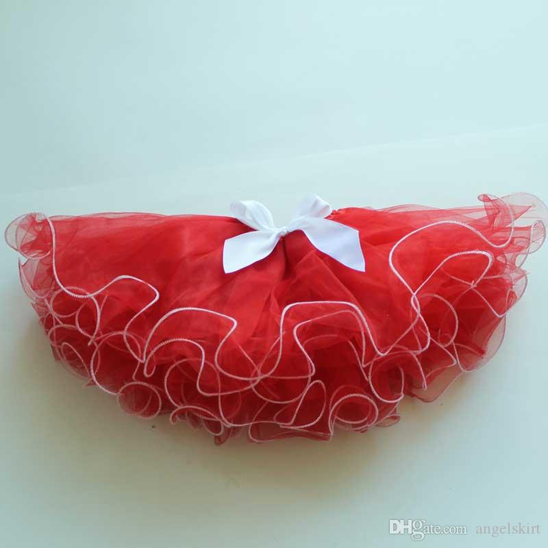 Christmas Red Kids Skirts With White Trim New Design Puffy Baby Tutu Skirt For Wholesale