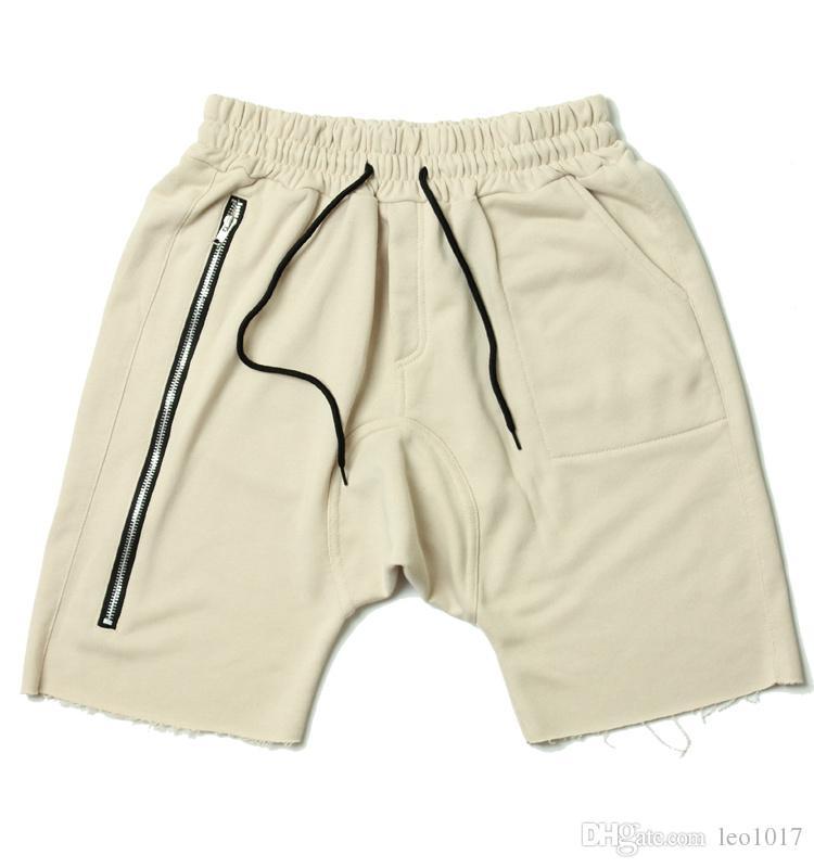 2017 Kanye West Zipper Baggy Shorts Men 2017 Summer Hip Hop Shorts ...