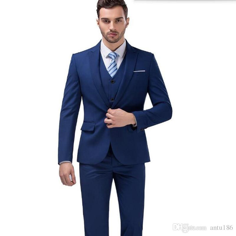 Mais recente projeto homens ternos moda elegante homens ternos de casamento smoking lapela azul um botão ternos formal de negócios (jaqueta + colete + calças)