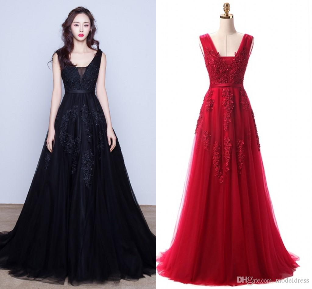 Incredibile 2019 Vino Rosso Blu Navy Prom Dresses Scollo a V Applique Backless Modest partito di spettacolo Occasioni speciali Abiti economici a Stock Image reale