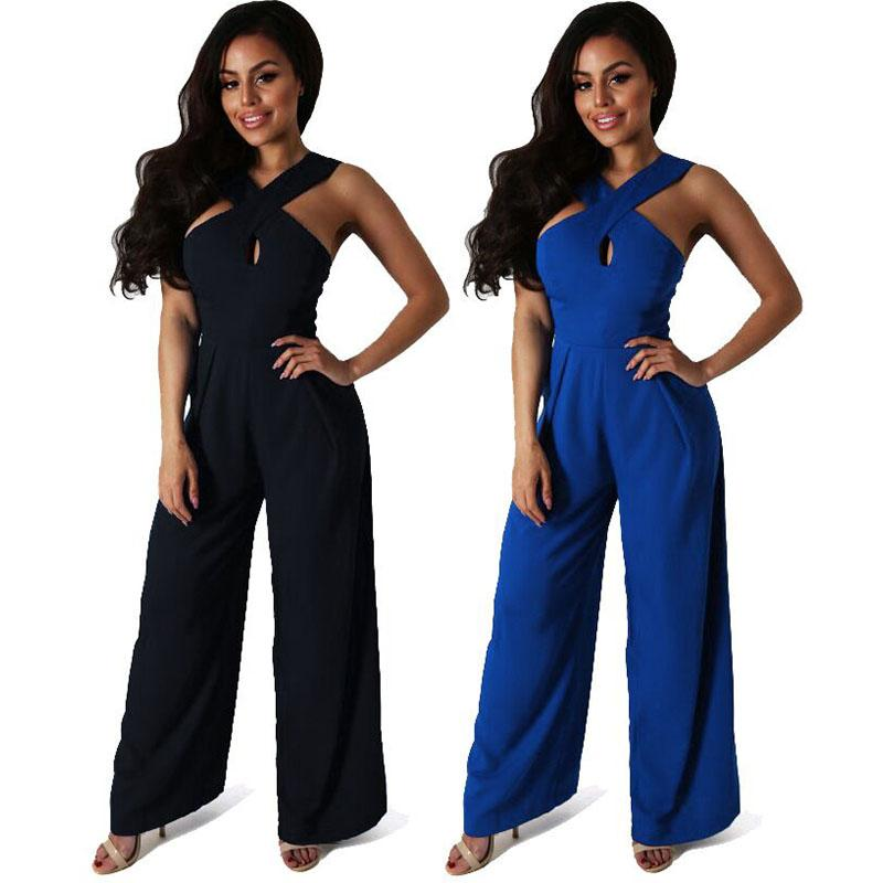 2017 Bahar Bayan Tulum Ince Tulum Kadınlar Tek Parça Uzun Pantolon Artı Boyutu Tulumlar Mavi ve Siyah