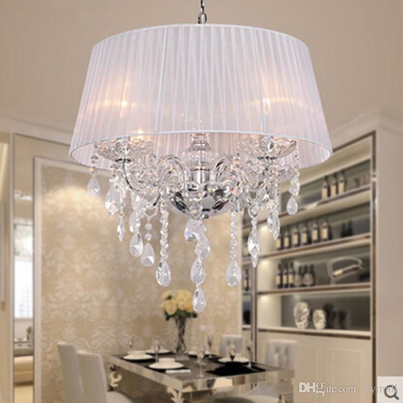Fabric Shade LED Modern K9 Crystal Chandeliers 50cm 4*E14 Led Bulb Crystal Chandelier Light Pendant Lamp White/Beige/Pink/Red/Black Shade