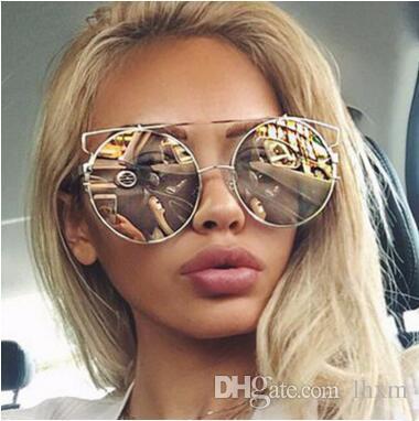 Senhoras elegantes em volta da armação de metal óculos de sol tendência colorida senhora óculos de sol