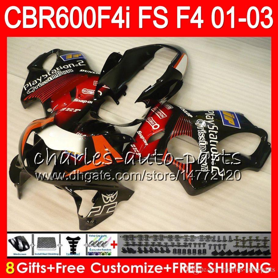 8Gifts nero lucido 23 Colori per HONDA CBR 600 F4i 01-03 CBR600FS FS 28NO28 CBR600 F4i 2001 2002 2003 CBR 600F4i CBR600F4i 01 02 03 Carenatura