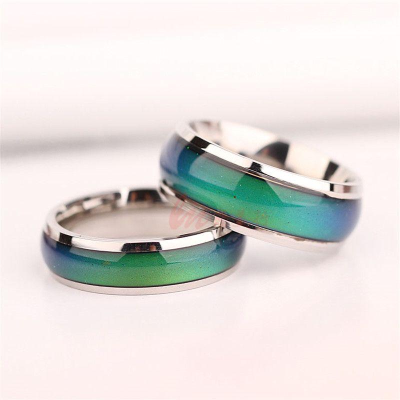 6MM لرجل وامرأة مزج حجم خاتم تغيير لون اللون إلى درجة الحرارة الخاصة بك حلقة حلقات الشعور