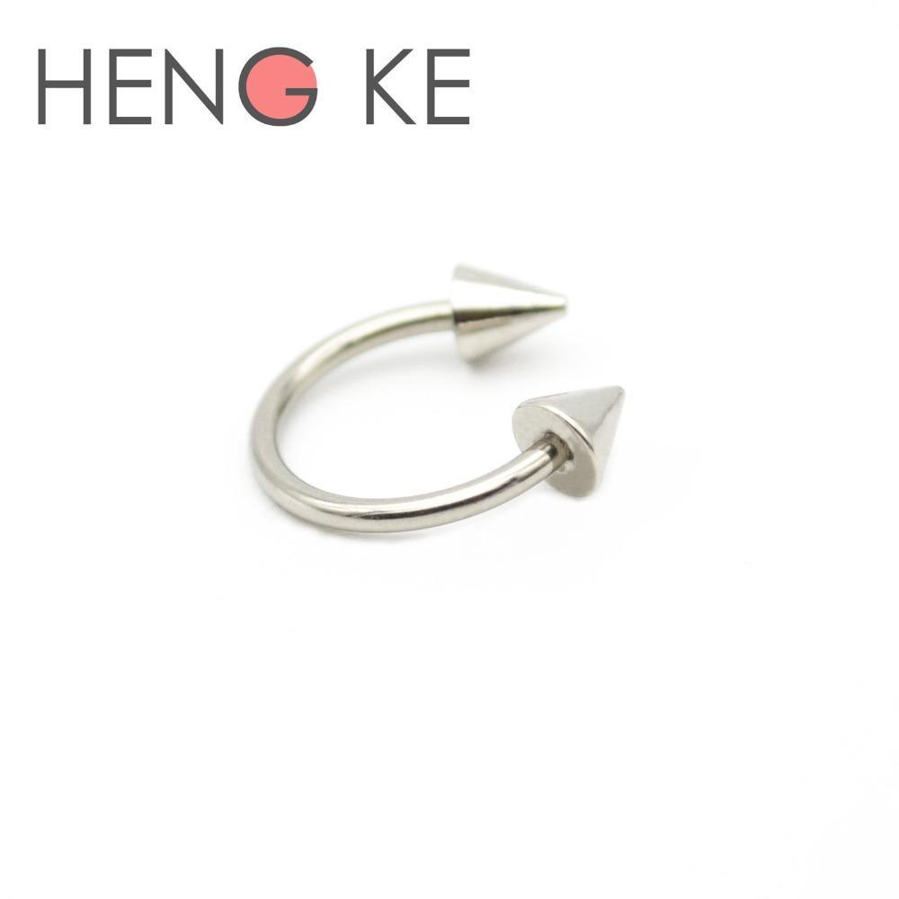 16G 316L Steel Spike Silver Horseshoe Ear Septum Tragus Labret Monroe Lip Nipple
