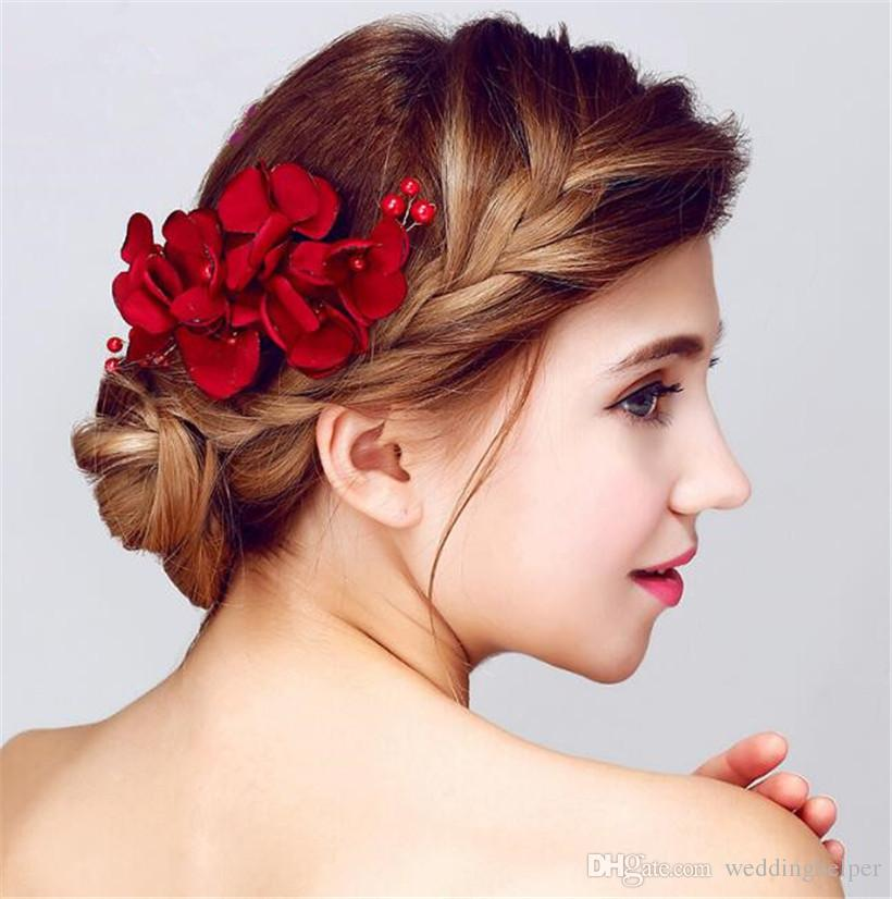 Vintage Wedding Bridal Hair Flower Comb Red Rose Headpiece Hair Accessories Clip Jewelry Hair Pins Princess Queen Wholesale Headdress Hairstyle For