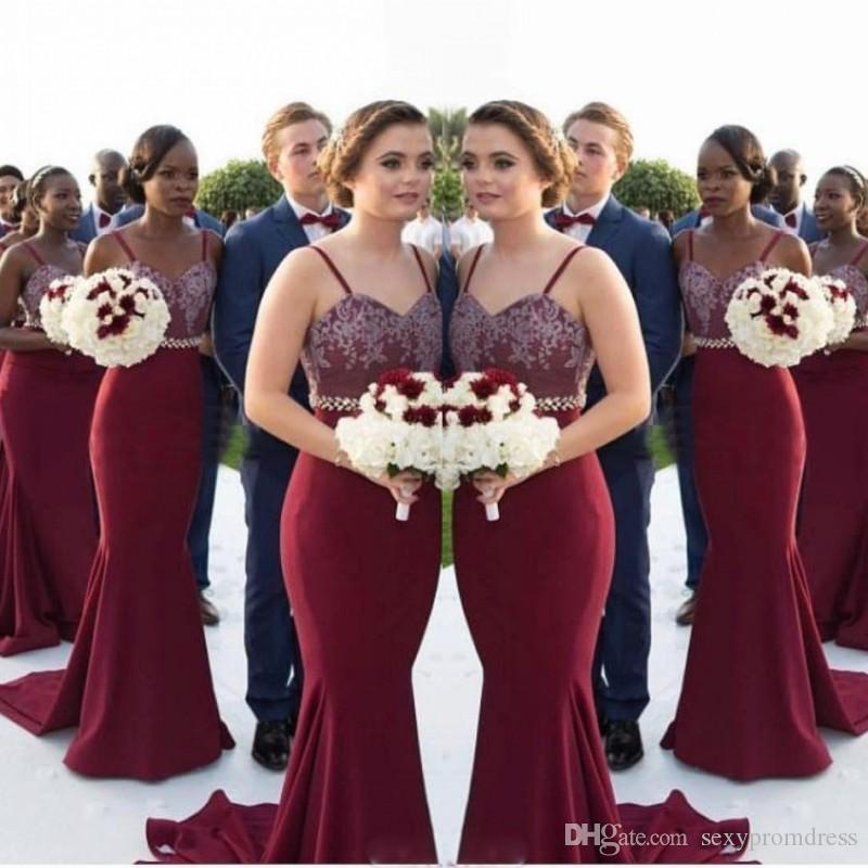 Borgoña Spaghetti Vestidos de dama de honor largos Apliques de encaje Cintura con cuentas Mermaid Maid of Honor Bods Guest Guest Vestido de fiesta formal barato