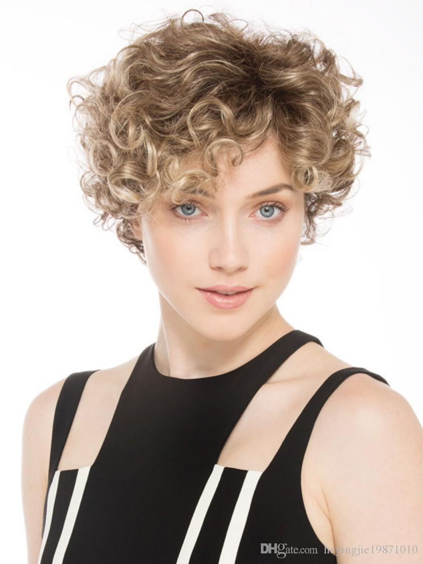 Xiu Zhi Mei Blande Short Afro Kinky Curly Natural Hair Wig Cheap Cosplay Synthetic Brown Women's Wigs Perruque Afro Wig For Black Women