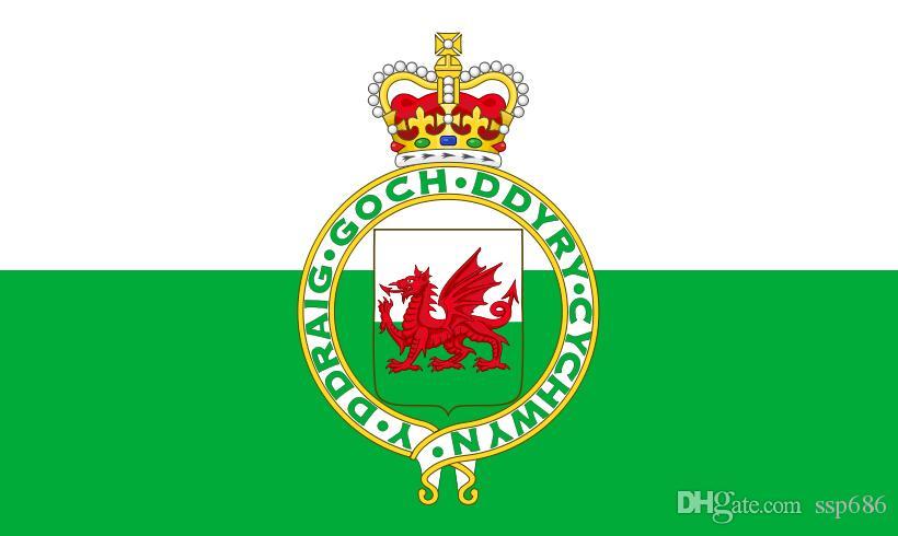 The Royal Badge of Wales1953-1959 Bandiera 3ft x 5ft poliestere bandiera di volo 150 * 90cm bandiera esterna su ordinazione