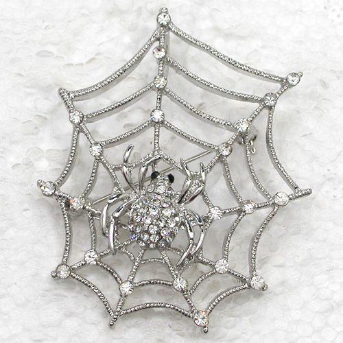 12pcs / lot 도매 크리스탈 라인 석 거미 웹 브로치 패션 의상 핀 브로치 펜던트 쥬얼리 선물 C262