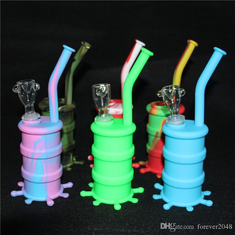 Portable Narguilé Rigs Barrel silicone pour fumeurs eau Percolateur Bang sec Herb Incassable Pipe concentré Fumer huile