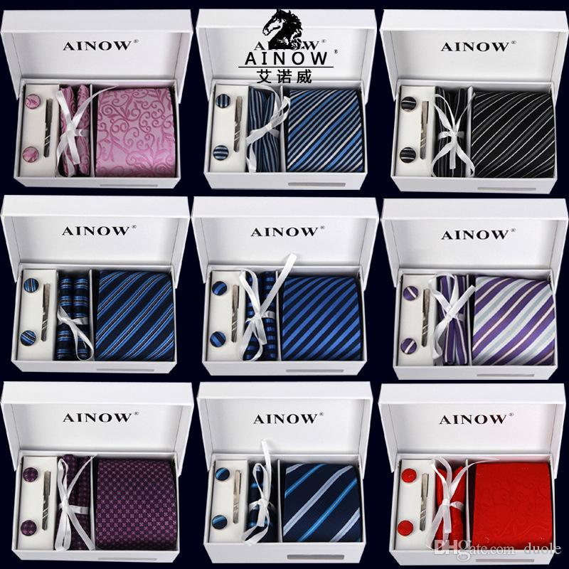 Men's neck tie handkerchief Cufflink Necktie clips Gift box 16 colors for Father's Day Men's business tie Christmas Gif