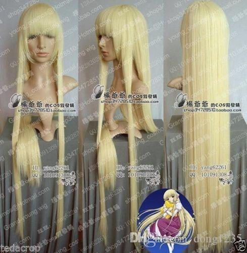 100% nuevo de alta calidad Imagen Moda de encaje completa pelucas Cos pelucas cosplay de la peluca recta perruque Chobits Eruda largo de color amarillo dorado rubio