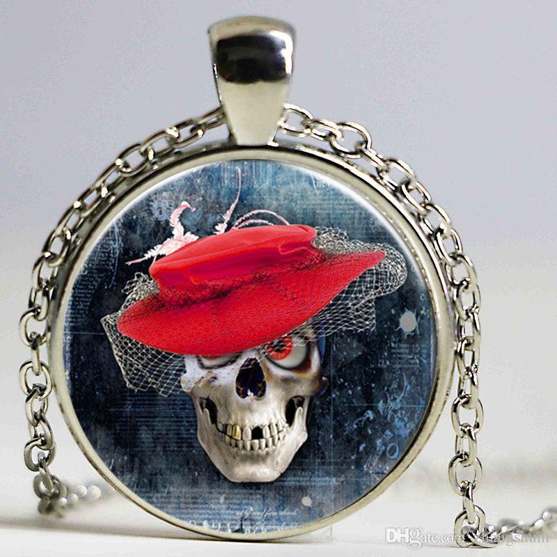 Crânio fotos da arte do vintage colar de pingente de mulheres cadeia colar vermelho chapéu Gargantilha Declaração Colar Para Mulheres Camisola cadeias