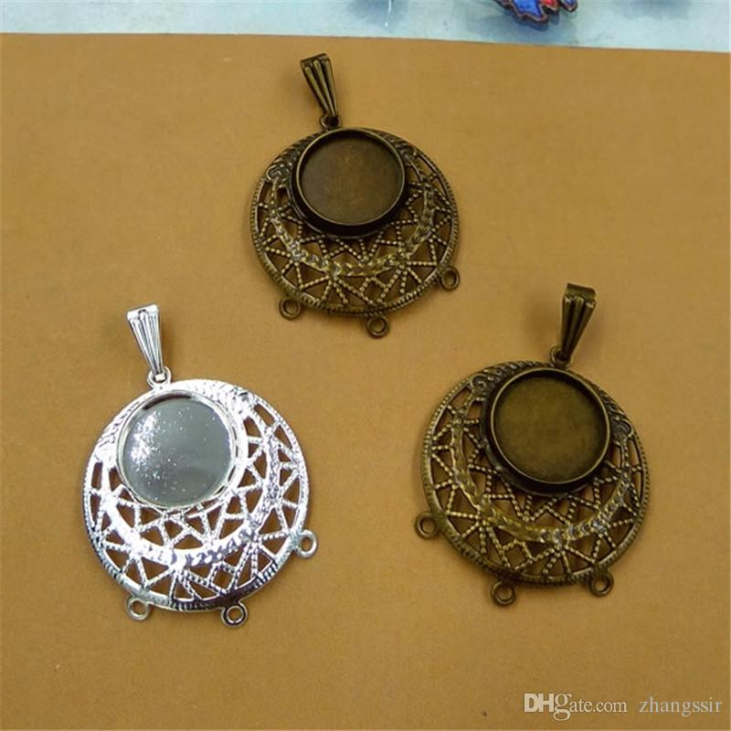 BoYuTe New Product 20Pcs Antique Bronze Silver Plated 12MM Cabochon Pendant Blank Tray Wholesale Brass Material Diy Jewelry Accessories