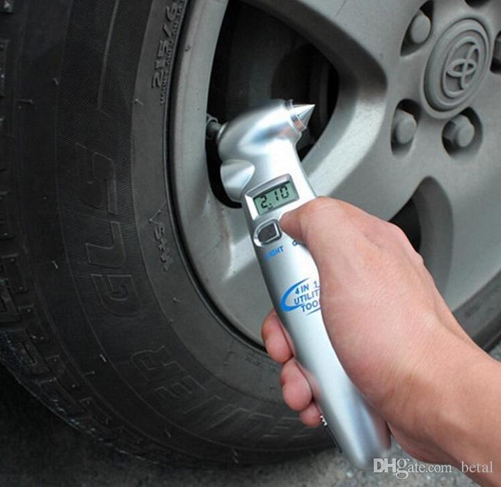 Psi Tire Pressure >> Auto Tire Pressure Tester Lcd Psi Kpa Bar Digital Tire Pressure Gauge 4 In 1 Multifunctional Auto Safety Hammer With Flashlight Auto Diagnostic