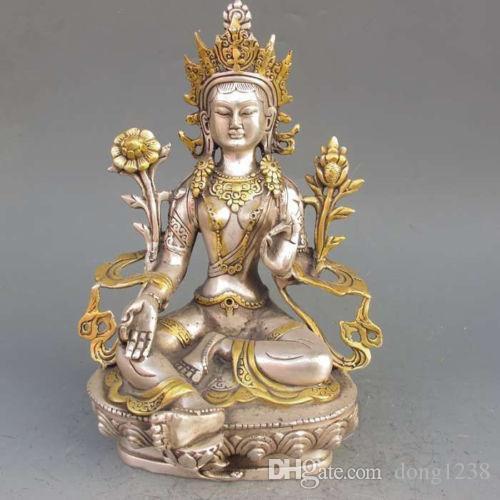 8.86 inç / Tibet Gümüş Bakır Yaldızlı Tibet Budizm Heykeli-Beyaz Tara Buda