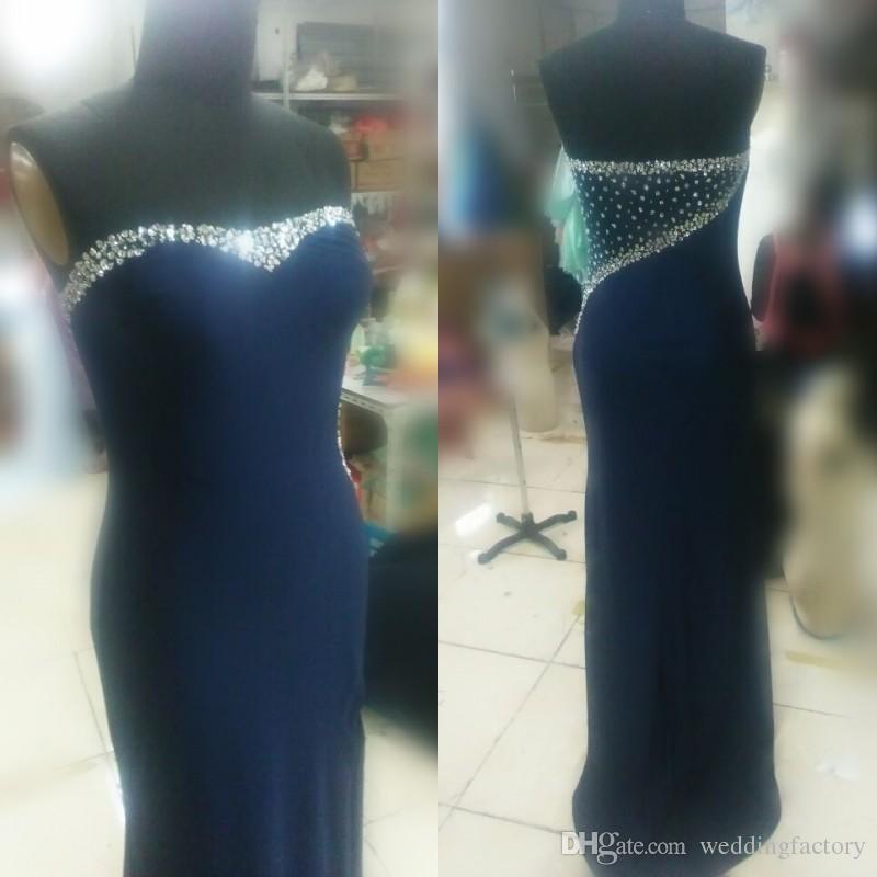 Sparkly Prom Dress Long Mermaid Fitted Spandex abito da sera cristalli in rilievo vedere attraverso dietro abiti da celebrità senza maniche con sexy Split
