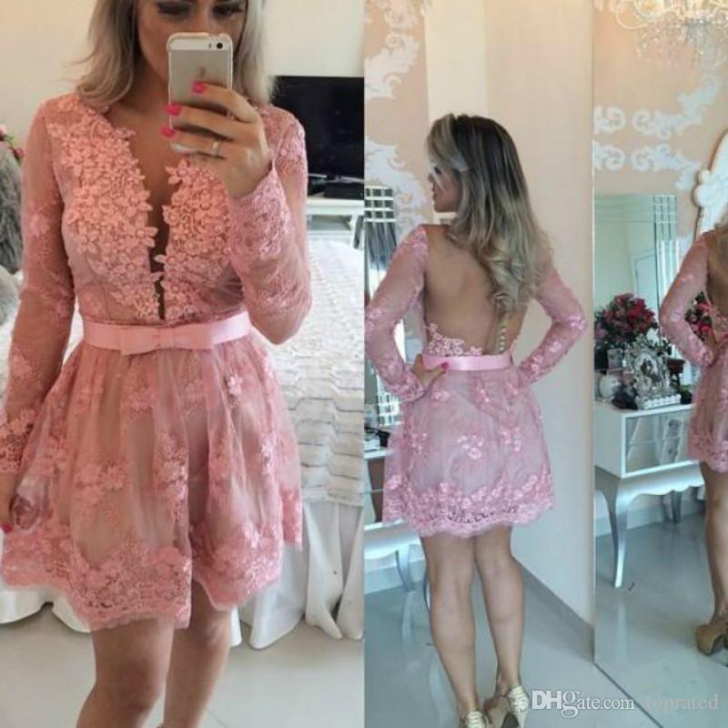 핑크 미니 레이스 긴 소매 칵테일 드레스 2020 섹시한 쉬어 가기 버튼 짧은 댄스 파티 드레스 주니어 8 대학 동창회 드레스 저렴한 A-라인