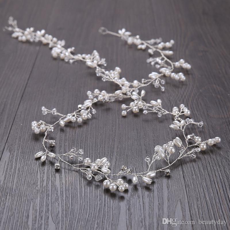 Copricapo Fascinators Tiara For Wedding Bridal Damigella d'oro argento fatto a mano con strass perla Hairband Accessori per capelli di lusso