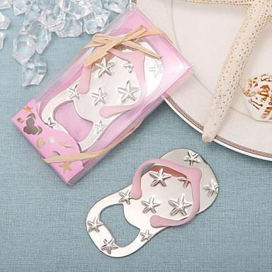 Free shipping Flip flop wine bottle opener with starfish design 100PCS/LOT wedding favor guest gift (pink Color)