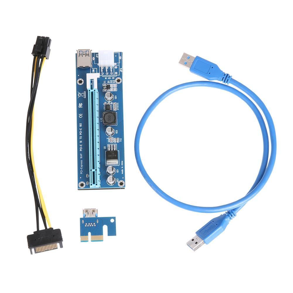 FREESHIPPING 10PCS USB 3.0 PCI-E اكسبريس 1X إلى 16X موسع الناهض بطاقة PCI اكسبرس محول 6PIN DC-DC كابل محول للحصول على BTC بيتكوين التعدين