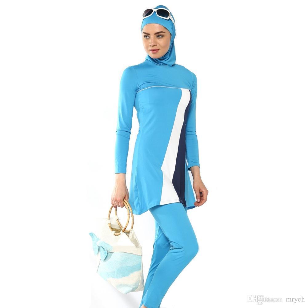 61eacd56e86 2019 Burkini S 4XL Muslim Swimwear Conservative Women Beachwear Ladies  Modest Islamic Bikini Bathing Swimming Suit From Mryeh, $30.06 | DHgate.Com